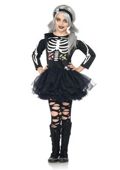 new girls scary skeleton black dress and headband outfit kids halloween costume
