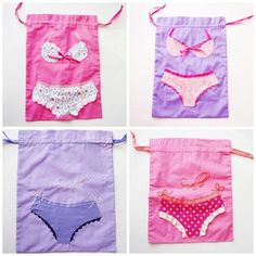 Custom Bridesmaid Gifts -4  Lingerie Bags Appliqued and Embroidered.. $68.00, via Etsy.