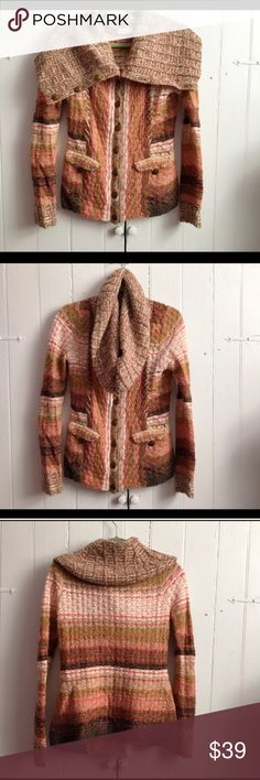 """Anthro Sleeping in the Snow funnel neck sweater S Really great condition! Perfect with jeans and boots for fall. 35% acrylic, 28% wool, 21% nylon, 12% cotton, 4% other fiber. Approx 36"""" bust, 24"""" length. Funnel neck, buttons all the way to the top. ✅offers❌trades/PP 💰make an offer on bundles Anthropologie Sweaters"""
