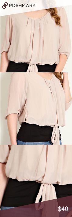 Ribbon Tie Front Blouse Ribbon Tie Front Solid Blouse.  Can easily be dressed up or down.  100% Polyester Contrast:  97% Rayon 3% Spandex Tops Blouses