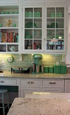 Love the jadite green tile backsplash! Green Kitchen, Kitchen Redo, Kitchen And Bath, New Kitchen, Vintage Kitchen, Kitchen Remodel, Kitchen Ideas, Kitchen White, Kitchen Renovations