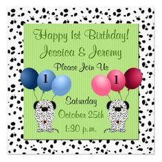 Twins 1st Birthday Party Invitation Green