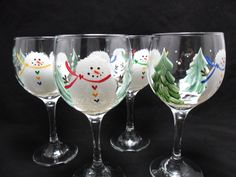 RESERVED FOR LINDAH Snowman Wine Glasses by PaintingByElaine