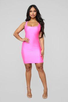bf1cdcd6fa26 Mami Casual Square Neck Mini Dress - Neon Pink