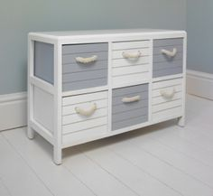 Blue and White nautical 6 drawer storage unit - Melody Maison® Shabby Chic Furniture, Painted Furniture, Diy Furniture, Drawer Storage Unit, Nautical Bathrooms, Coastal Bedrooms, Nautical Home, Beach House Decor, Room Themes