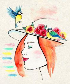 Chapeau avec fleurs et oiseaux. #aquarelle #dessin #oiseau #fleurs #watercolor #illustration #flowers #bird #mésange