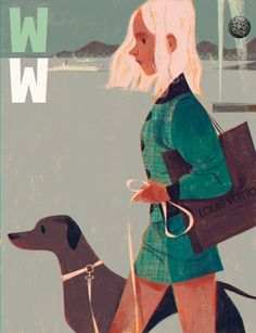 Woman and dog cover illustration for WW magazine by Annette Marnat  http://annettemarnat.blogspot.co.uk/