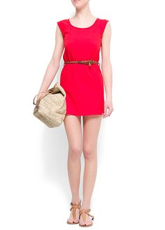 Slim-fit cotton dress. Que color tan bello