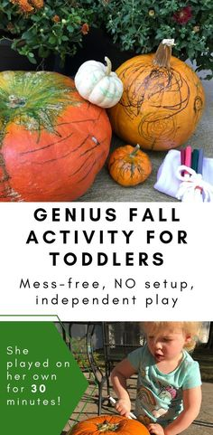 Easy, No Prep, open-ended, Independent fall activity idea for toddlers using just pumpkins, washable Fall Activities For Toddlers, Learning Toys For Toddlers, Outdoor Activities For Kids, Infant Activities, Toddler Learning, Learning Activities, Pumpkin Contest, Pumpkin Ideas, Easy Pumpkin Carving