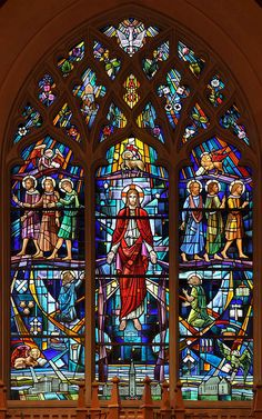 Religious Stained Glass Window Film Cross Design With