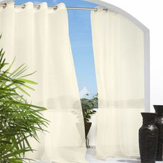 Add a breezy touch to your balcony or highlight your living room with this versatile curtain, showcasing a sheer neutral hue for lovely style.  ...