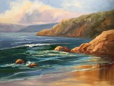 This painting is from a beach scene at Scripps Beach. Beautiful golden reflections on the beach!