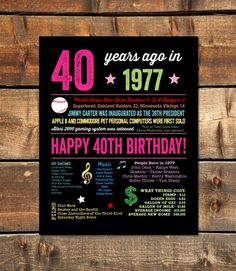 40th Birthday Decor, 40th Birthday Party, 40th Birthday Gift, 1977 Sign 40th Birthday by fairplayprintables