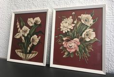Your place to buy and sell all things handmade House Color Schemes, House Colors, Behind The Glass, Pink And Green, 1940s, Burgundy, Floral Prints, Cream, Interior