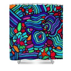 """Night in 1963 Shower Curtain at http://fineartamerica.com/products/night-in-1963-sarah-loft-shower-curtain.html.  This shower curtain is made from 100% polyester fabric and includes 12 holes at the top of the curtain for simple hanging.  The total dimensions of the shower curtain are 71"""" wide x 74"""" tall."""