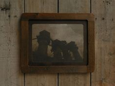 Reclaimed wood frame, encaustic photography, rusty sheet metal passe partout, 53x43 cm. Made in Zahrada.