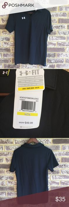 NWT Under Armour Black Polo Lightweight under Armour plain polo. Vneck. Great for golfing or any event. I bought this as an athletic training student, but it was never worn. Loose fit. Under Armour Tops Tees - Short Sleeve