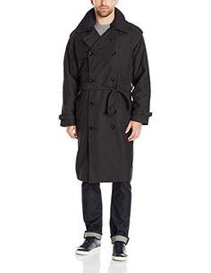 XQS Mens Double-Breasted Windbreaker Jacket Lapel Long Overcoat
