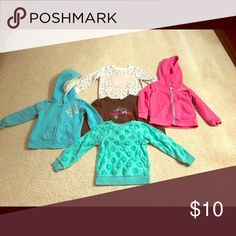 Toddler girls size 2T sweat shirts and hoodies Used good condition 2 hooded zip up hoodies, and 3 sweat shirts! Shirts & Tops Sweatshirts & Hoodies