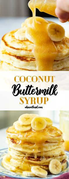 Crepes, Buttermilk Syrup, Buttermilk Recipes, Homemade Buttermilk, Coconut Syrup, Vanilla Syrup, Homemade Syrup, Homemade Waffles, Homemade Sauce