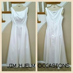 "Jim Hjelm White Gown White Dress Formal Size 4  NEW LISTING  * Elegant white gown by Jim Hjelm Occasions. Vintage from the late 90's. Scoop neck. Floor length. Lined with toule underskirt. Zipper up back covered with decorative buttons and bow. * Size 4 L (long). Approximate measurements: 58"" length, 32"" bust, 27"" waist. * 100% satin polyester shell, 100% acetate lining, 100% nylon netting.   * Very good condition. Some stains on inside under arms, not visible when worn. Professionally…"