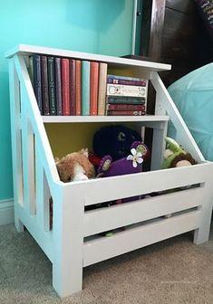 DIY Nightstand Toy Bin Bookshelf - home /diy - Girls Bookshelf, Bookshelf Design, Bookshelf Diy, Wallpaper Bookshelf, Bookshelf Styling, Bookshelf Speakers, Book Shelves, Diy Nightstand, Nightstands