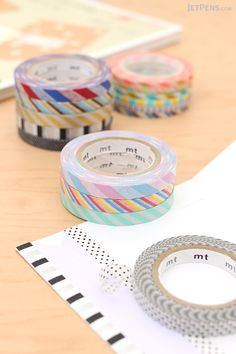 Measuring just 3 mm to 6 mm wide, delicate MT Slim Washi Tapes add stylish striped borders and accents to your calendar, planner, or scrapbook.