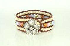 Memorial Day Pink Cuff Bracelet Flower by ArtbyCateJewelry on Etsy, $60.00