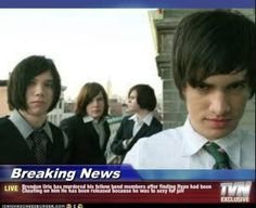 Brendon was just too sexy for jail XD. Panic! At The Disco, Brendon Urie, Ryan Ross, Spencer Smith, Brent Wilson