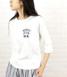 a piece of Libraryコットン クルーネック 7分袖 ロゴ Tシャツ