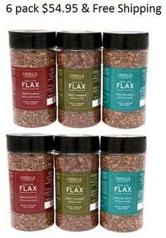 Steep Hill Solutions - We sell natural flavoured and shelled flaxseeds in shakers. We have 4 shakers: Roasted Maple, Roasted Garlic, Sweet Cinnamon, and Super Sprinkle. Shelled, 6 Pack, Six Packs, Stuffed Shells, Roasted Garlic, Cinnamon, Packing, Foods, Drinks