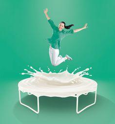 Trampoline made of Liquid Milk Food Poster Design, Ad Design, Branding Design, Graphic Design, Milk Advertising, Advertising Poster, Social Media Poster, Social Media Design, Ads Creative
