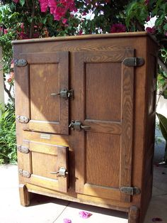 1919 - Antique 3-door Ice Box - Wood