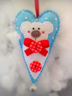 Felt Polar Bear Heart Christmas ornament