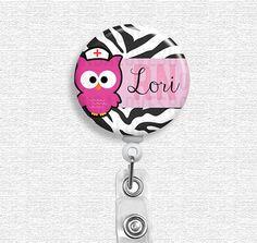 Badge Reel - Personalized Name - Owl Zebra Print Pink, Owl Nurse, Retractable Badge Reel, Nurse Badge Holder via Etsy