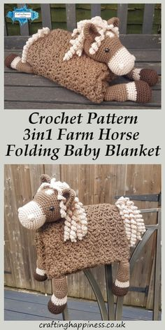 Farm Horse Folding Baby Blanket Toy Lovey Crochet Pattern - Crafting Happiness A folding horse baby blanket that acts as a toy, a blanket & a decoration for your loved one's room. Affordable crochet PDF pattern by Crafting Happiness. Crochet Motifs, Crochet Blanket Patterns, Baby Blanket Crochet, Baby Patterns, Free Crochet, Kids Crochet, Easy Crochet, Crochet Baby Toys, Knitted Baby