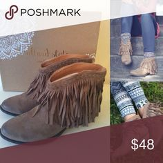ALTAR'D STATE Free Spirit Fringe Booties New in box, perfect for any season! Altar'd State Shoes Ankle Boots & Booties