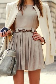 I LOOOVE this outfit! The beige a-line  pleated dress with the leopard print belt and white coat are sooo VERY chic!