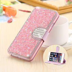 Bling diamond case voor iphone 5 5 s se mode strass glitter portemonnee flip leather voor iphone 7 6 6 s plus 5 mobiele telefoon cover