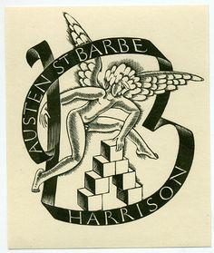 Superb-ERIC-GILL-Bookplate-for-Austen-St-Barbe-Harrison