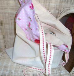 Upcycled Calico Tote Bag  Fold up Grocery Bag  by moodycowdesigns, £9.00