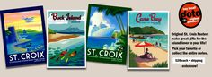 """I LOVE these beautiful travel posters from """"the place that can't be named"""" (my husband teases me about my ability to work the fact that I lived there when I was a teen into at least one conversation per week).  I want these posters, especially the Cane Bay one (where I learned to scuba dive) and the Christiansted Boardwalk one (where we used to go shopping).  Oh, yeah.  Must have these soon.  :)"""