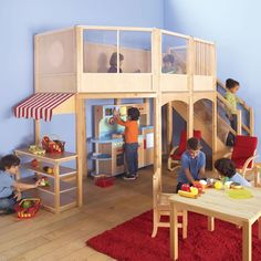 Child Playhouse Market Loft With Extension Kit In Natural Guidecraft. ideas for building backyard play loft Kids Indoor Playhouse, Build A Playhouse, Indoor Playground, Indoor Play Equipment, Reading Loft, Reading Time, Home Daycare, Daycare Ideas, Teen Room Decor