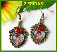 Frida KAHLO earrings VINTAGE style Dia de los Muertos mexico folk art day of the dead altered aretes Tribal Unique. $9,00, via Etsy.