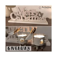"""⭐️⭐️ GIVEAWAY!! ⭐️⭐️ Win this """"Merry Christmas"""" white glitter sign measuring 44cm wide (RRP £15) along with 2 gorgeous Reindeer Candle Holders (RRP £5).  Follow on Instagram, Repost & tag Enchanting Home Decor - Ends 9pm 30/11"""