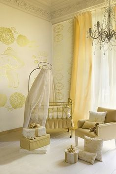 Eek! What a lovely nursery. I think I would pick a different color but use the style. It's beautiful and elegant.