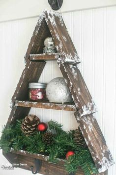 DIY Snowy Rustic Christmas Tree Shelf - - DIY Snowy Rustic Christmas Tree Shelf is my version of this month DIY Workshop project at the Home Depot. Learn how to make your own! Wooden Christmas Decorations, Christmas Wood Crafts, Wood Christmas Tree, Outdoor Christmas, Christmas Projects, Holiday Crafts, Christmas Time, Christmas Ornaments, Winter Wood Crafts