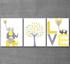 Yellow and grey Nursery Art Print Set, Kids Room Decor, Baby/Children Wall Art - Tree, Elephants, BABY Elephant, LOVE.