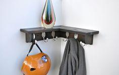 6 Spoon Hooks Coat Rack with Corner Shelf in Brown Black on Etsy, $75.00