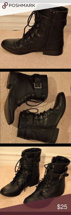 Women size 7 black boots In great condition! Black combat boots! Style & Co Shoes Combat & Moto Boots